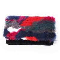 Multi Red Furry Clutch Handbag