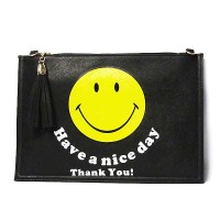 Darling Black Emoji Smiley Face Tassel Clutch