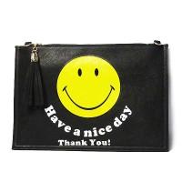 Darling Black Emoji Smiley Face Tassel Clutch