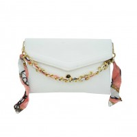 White Snake Print Chain Ribbon Envelope Clutch Bag