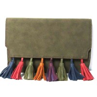 Moss Green  Multi-Color Tassel Clutch