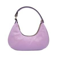 Lovely Purple Moc Croc Print Hobo Shoulder Bag