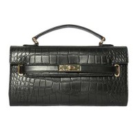 Black Moc Croc Lock Belt Envelope Clutch