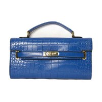 Blue Moc Croc Lock Belt Envelope Clutch