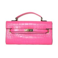 Pink Moc Croc Lock Belt Envelope Clutch