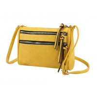 Iconic Yellow Tassel Double Zipper Crossbody Bag
