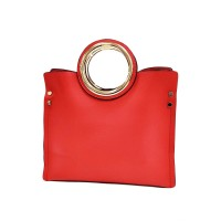 Eye Catching Bold Red Cut Out Handle Tote Bag