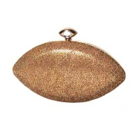 Dazzling Oval Gold Evil Eye Rhinestone Evening Case Clutch Bag