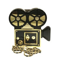 Designed Glossy Black Gold Film Recorder Novelty Shoulder Bag