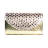 Gold Rhinestone Crystal Flap Evening Case Bag