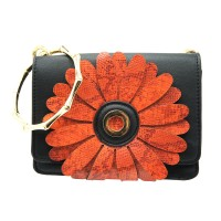 Floral Applique Black Bracelet Handle Clutch Shoulder Bag