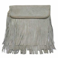 Fringe Fold Over Zip Clutch Purse Bag