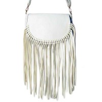 Knotted Long  Fringe Shoulder Clutch White-Handbag