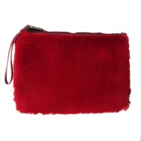 Soft Furry Red Faux Fur Wristlet Clutch Bag