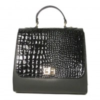 Made In Italy Chic Black Embossed Moc Croc Suede Winged Handbag