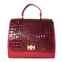 Red Embossed Croc Suede Winged Handbag