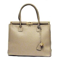 Made In Italy Taupe Genuine Leather Tote Handbag