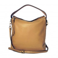 Light Tan Camel Genuine Soft Leather Hobo Bag