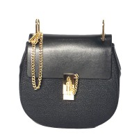 Clasp Genuine Leather Chain Crossbody Handbag