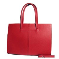 Red Ladylike Pebble Genuine Leather Tote Handbag