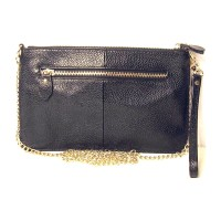 Genuine Black Leather Wristlet Clutch Bag