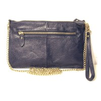 Genuine Navy Leather Wristlet Clutch Bag