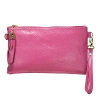 Stylish Fuchsia Pink Genuine Leather Tassel Wristlet Chain Clutch Bag