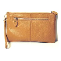 Genuine Camel Leather Wristlet Clutch Bag