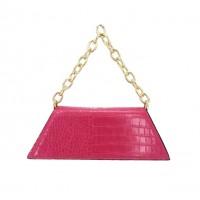 Vibrant Fuchsia Pink Geometric Chain Moc Croc Bag