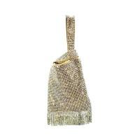 Glamorous Gold Rhinestone Tassel Evening Purse Bag