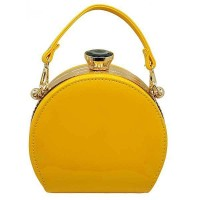 GLOSSY YELLOW PATENT TOP HANDLE ROUND FRAME BAG