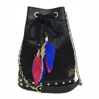Handcrafted Black Calf Hair Drawstring Bucket Tassel Shoulder Bag