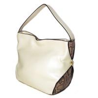 Versatile White Python Hobo Tote Bag