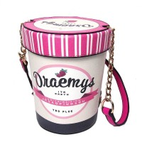 Strawberry Ice Cream Container Chain Novelty Bag