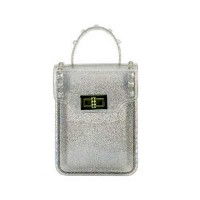 Glittering Silver Jelly Vinyl Cell Phone Crossbody Bag