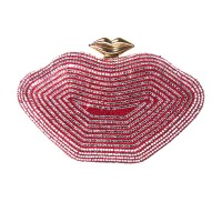 TIGERSTARS ROMANTIC RED SILVER LIP SHAPE EVENING CASE CLUTCH BAG