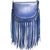 Navy Blue Knotted Long  Fringe Shoulder Clutch Bag