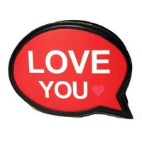 "Red Black ""Love You"" Speech Bubble Clutch Bag"
