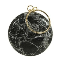 Unique Black Round Marbleized Minaudiere Evening Case Purse Bag