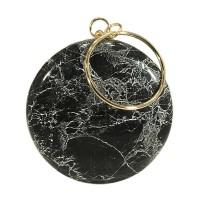 Unique Round Marbleized Minaudiere Evening Case Purse Bag