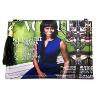Stunning Blue Michelle Obama Tassel Magazine Envelope Clutch