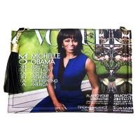 Stunning Blue Michelle Obama Tassel Magazine Envelope Clutch