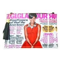 Stunning Red Michelle Obama Tassel Magazine Envelope Clutch