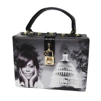 ICONIC BLACK WHITE MICHELLE OBAMA TOP HANDLE CASE BAG