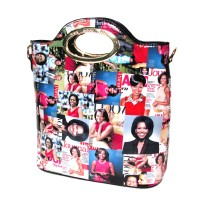 Mulit Color Michelle Obama Oval Top Handle Satchel Bag