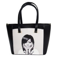 Gorgeous Black White Jumbo Michelle Obama Tote Bag