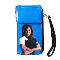 GORGEOUS BLUE MICHELLE OBAMA SMARTPHONE WALLET WRISTLET CASE BAG
