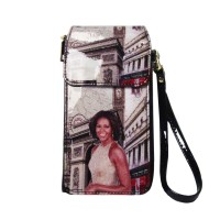 Worldly Beige Michelle Obama Smartphone Wallet Wristlet Case Bag