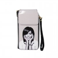 Black White Michelle Obama Smartphone Wallet Wristlet Case Bag