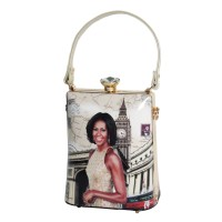 Dazzling Worldly Beige Modernistic Michelle Obama Top Handle Bag